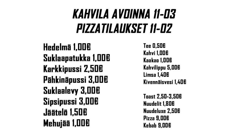 Kioskin hinnasto